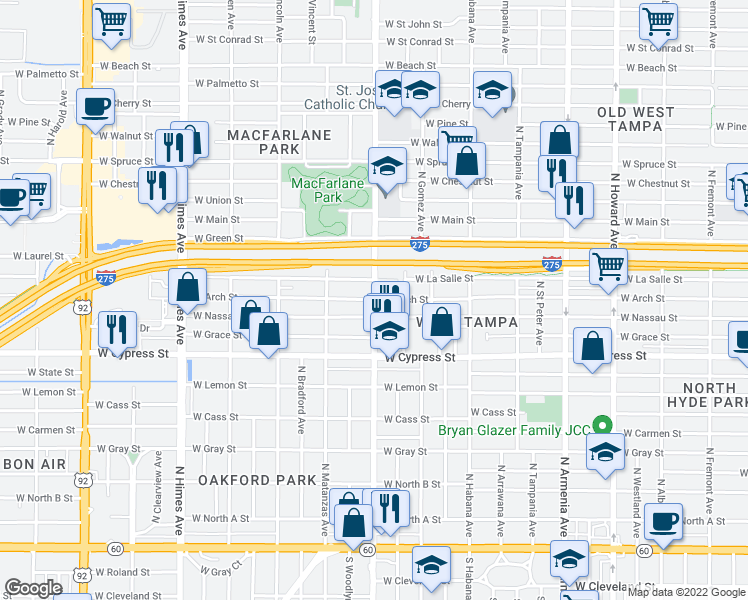 map of restaurants, bars, coffee shops, grocery stores, and more near W Arch St in Tampa