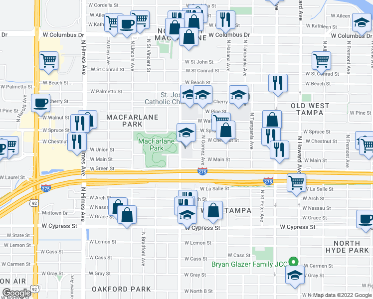 map of restaurants, bars, coffee shops, grocery stores, and more near 3027 West Chestnut Street in Tampa