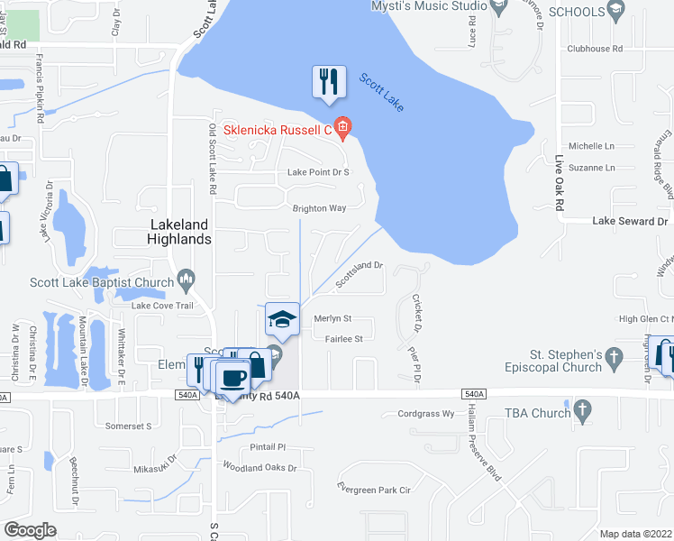 map of restaurants, bars, coffee shops, grocery stores, and more near in Lakeland