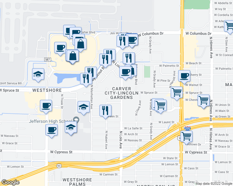 map of restaurants, bars, coffee shops, grocery stores, and more near 2002 N Lois Ave in Tampa