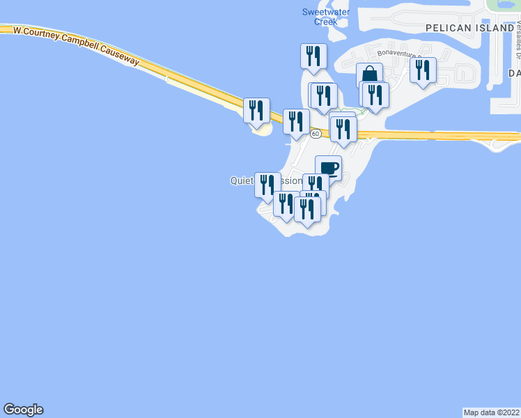 map of restaurants, bars, coffee shops, grocery stores, and more near Bay Club Court in Tampa