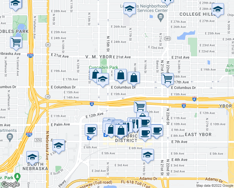 map of restaurants, bars, coffee shops, grocery stores, and more near N 16th St & E 15th Ave in Tampa