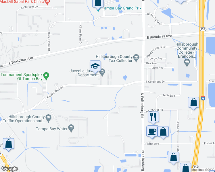 map of restaurants, bars, coffee shops, grocery stores, and more near 9501-9647 E Columbus Dr in Tampa
