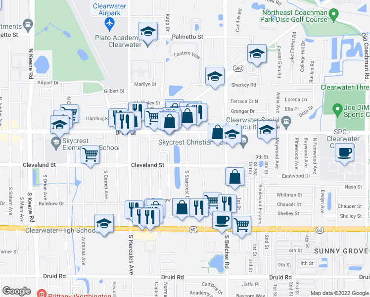 map of restaurants, bars, coffee shops, grocery stores, and more near 9 North Neptune Avenue in Clearwater
