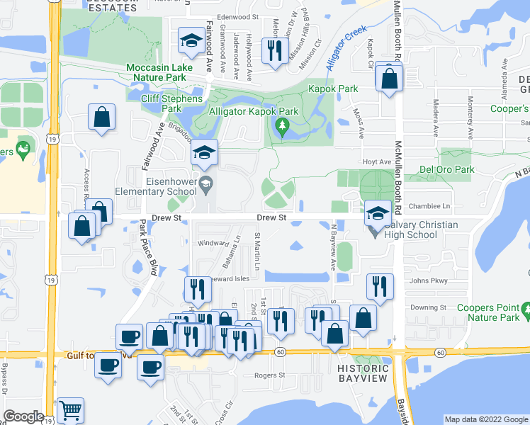 map of restaurants, bars, coffee shops, grocery stores, and more near 213-221 Saint Martin Lane in Clearwater