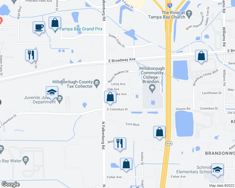map of restaurants, bars, coffee shops, grocery stores, and more near Lake Ave in Tampa