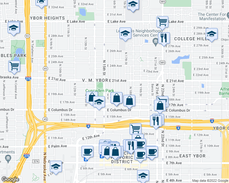 map of restaurants, bars, coffee shops, grocery stores, and more near 2904 North 16th Street in Tampa