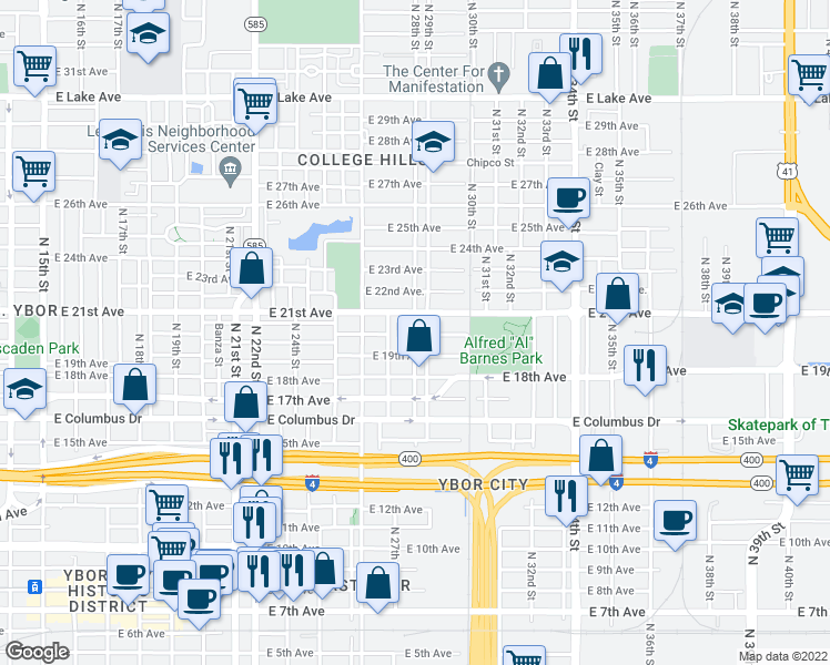 map of restaurants, bars, coffee shops, grocery stores, and more near 2900-2910 E 21st Ave in Tampa