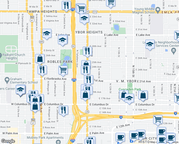 map of restaurants, bars, coffee shops, grocery stores, and more near 906 23rd Avenue in Tampa