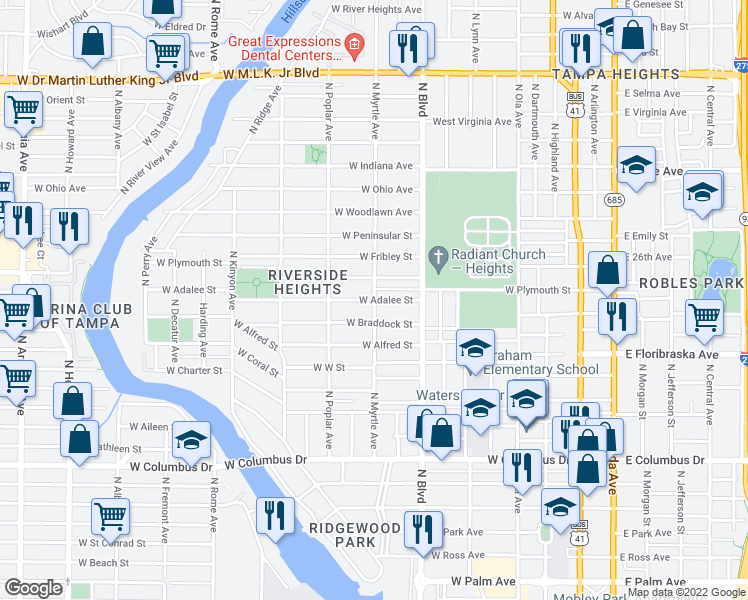 map of restaurants, bars, coffee shops, grocery stores, and more near West Adalee Street in Tampa