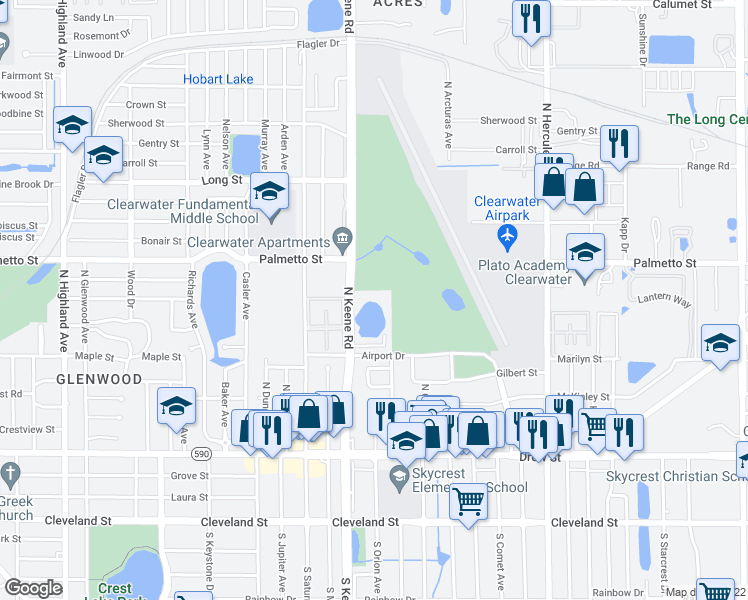 map of restaurants, bars, coffee shops, grocery stores, and more near 769-799 North Keene Road in Clearwater