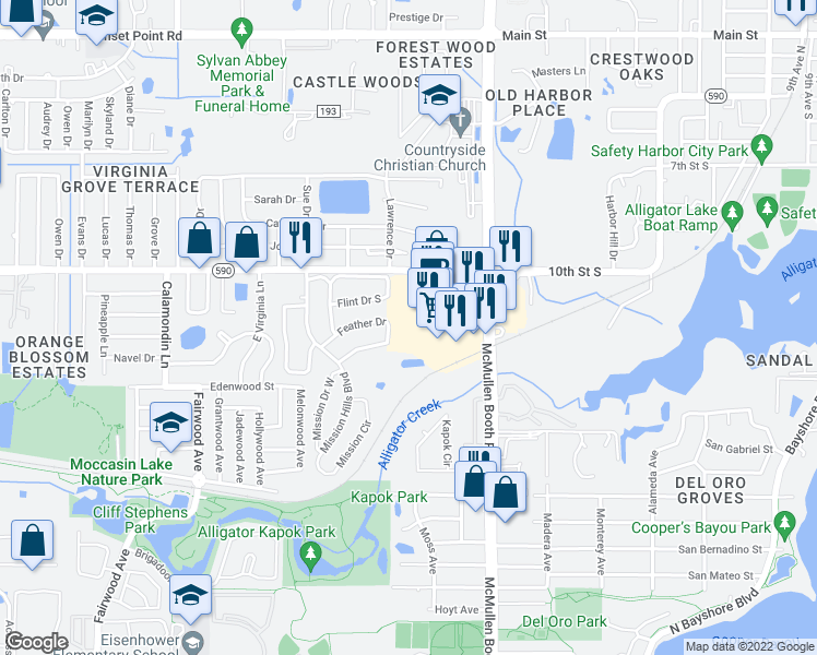map of restaurants, bars, coffee shops, grocery stores, and more near 3021 State Road 590 in Clearwater