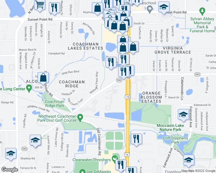map of restaurants, bars, coffee shops, grocery stores, and more near 2501-2527 NE Coachman Rd in Clearwater