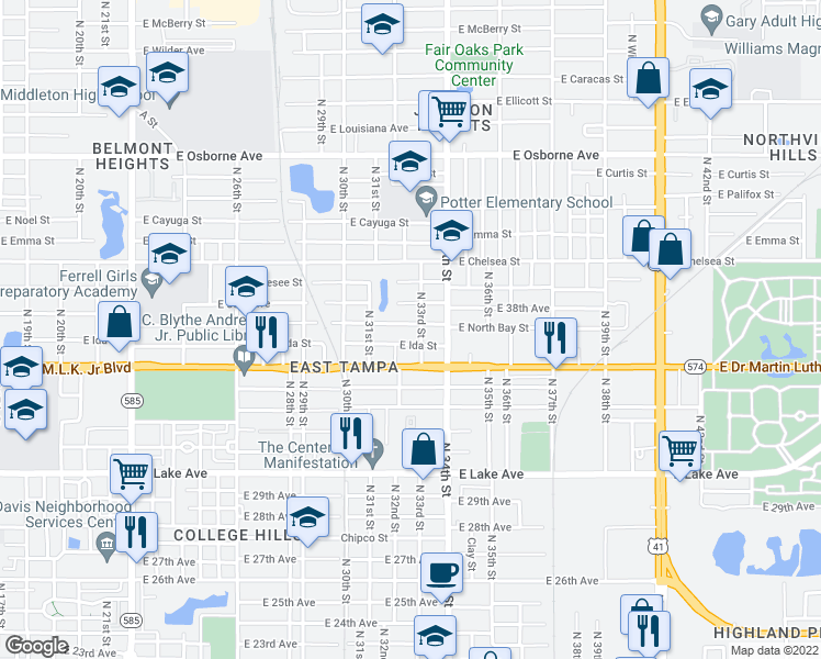 map of restaurants, bars, coffee shops, grocery stores, and more near 4100-4198 North 33rd Street in Tampa