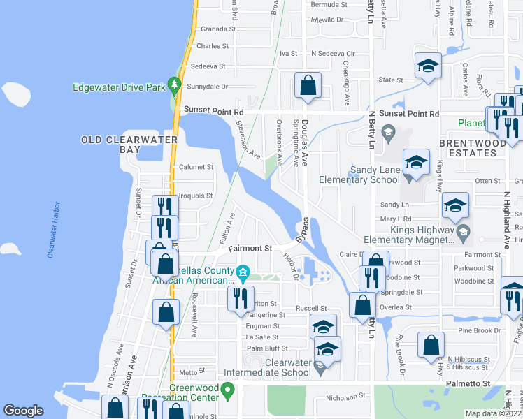 map of restaurants, bars, coffee shops, grocery stores, and more near 1781 Harbor Dr in Clearwater