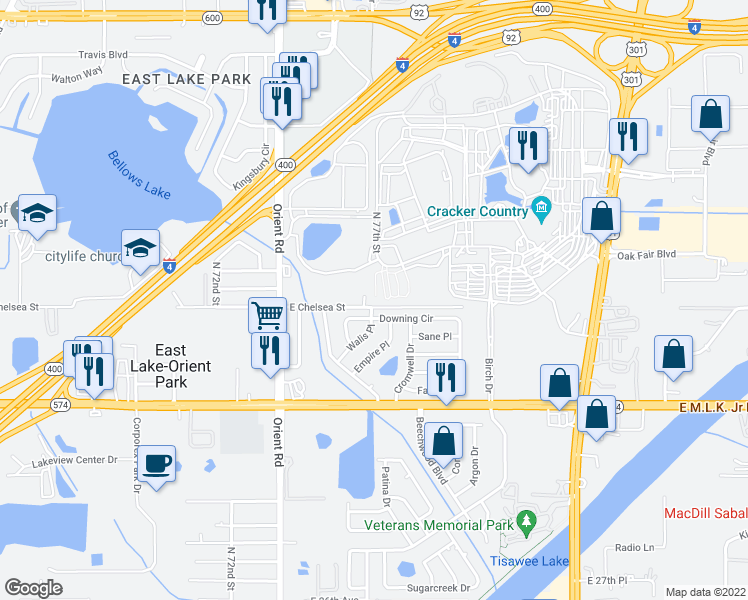 map of restaurants, bars, coffee shops, grocery stores, and more near 7712 E Chelsea St in Tampa