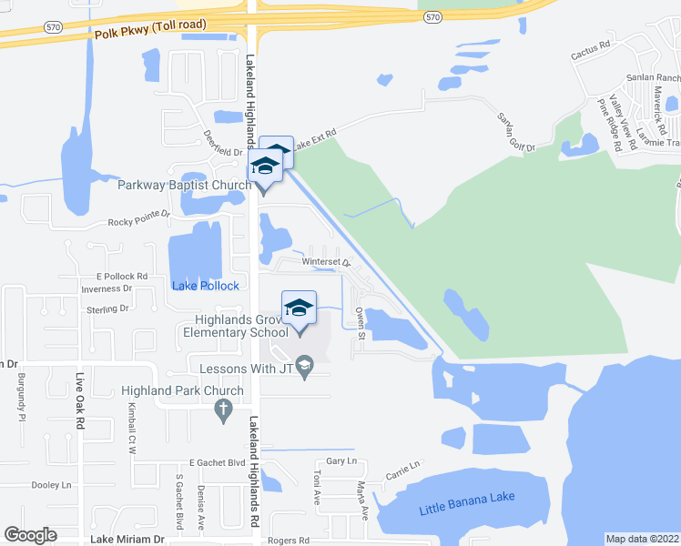 map of restaurants, bars, coffee shops, grocery stores, and more near Lakeland Highlands Boulevard in Lakeland