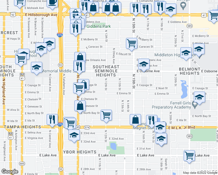 map of restaurants, bars, coffee shops, grocery stores, and more near 1213 East Palifox Street in Tampa