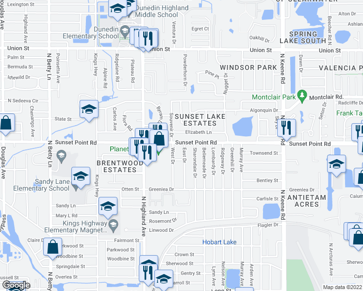 map of restaurants, bars, coffee shops, grocery stores, and more near 1586 Sunset Point Road in Clearwater