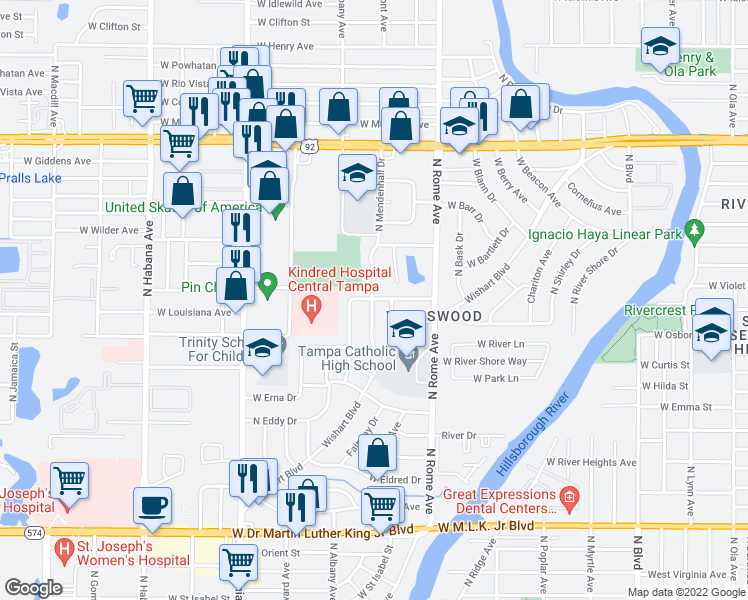 map of restaurants, bars, coffee shops, grocery stores, and more near 4823 North Mendenhall Drive in Tampa
