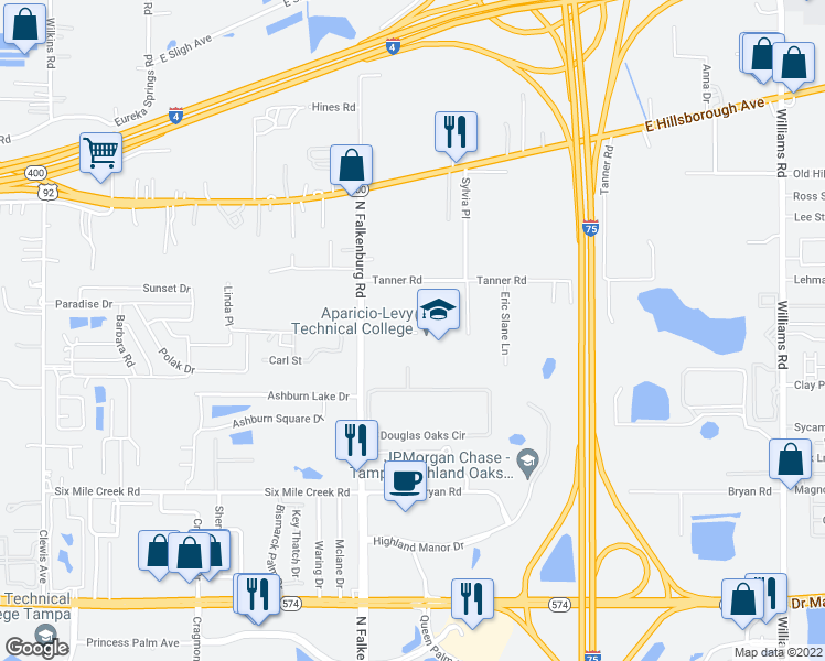 map of restaurants, bars, coffee shops, grocery stores, and more near 10125 East Ellicott Street in Tampa