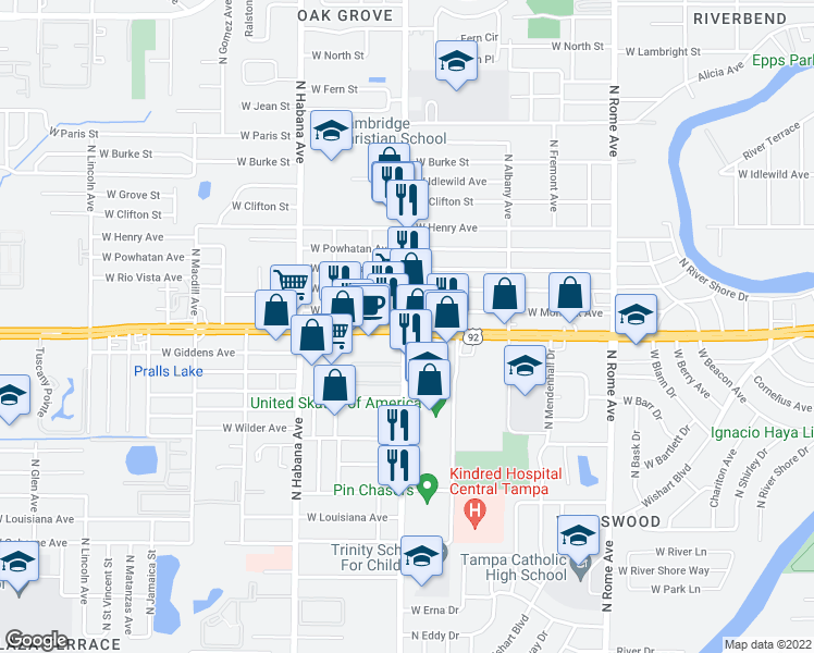 map of restaurants, bars, coffee shops, grocery stores, and more near W Hillsborough Ave & N Armenia Ave in Tampa