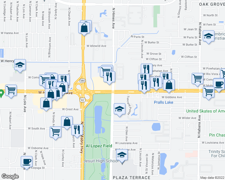 map of restaurants, bars, coffee shops, grocery stores, and more near 3600-3672 W Hillsborough Ave in Tampa
