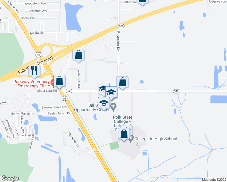 map of restaurants, bars, coffee shops, grocery stores, and more near 3330 Winter Lake Road in Lakeland