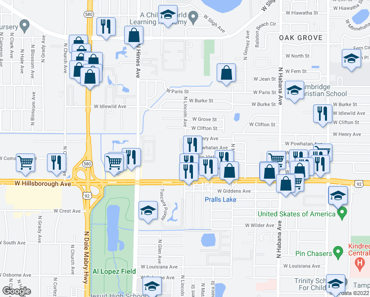 map of restaurants, bars, coffee shops, grocery stores, and more near 5702 North Lincoln Avenue in Tampa