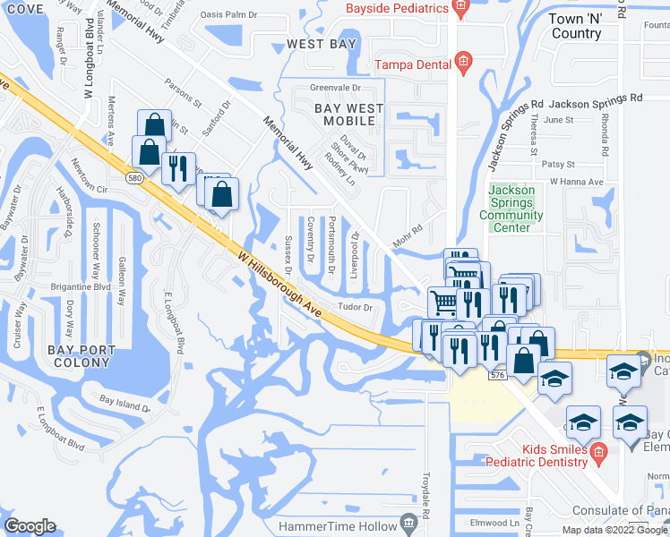 map of restaurants, bars, coffee shops, grocery stores, and more near 5810 Liverpool Drive in Tampa