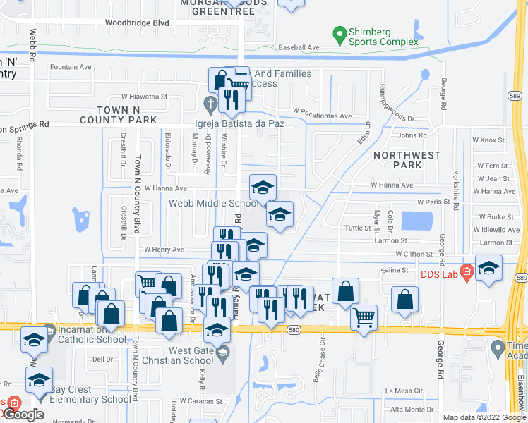 map of restaurants, bars, coffee shops, grocery stores, and more near 7100-7398 West Hanna Avenue in Town 'n' Country