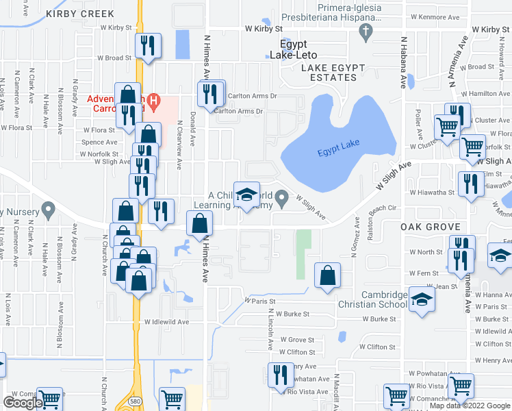 map of restaurants, bars, coffee shops, grocery stores, and more near 3223 Alene Street in Tampa