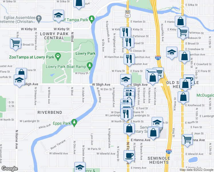 map of restaurants, bars, coffee shops, grocery stores, and more near 6901-6999 Lynn Ave in Tampa