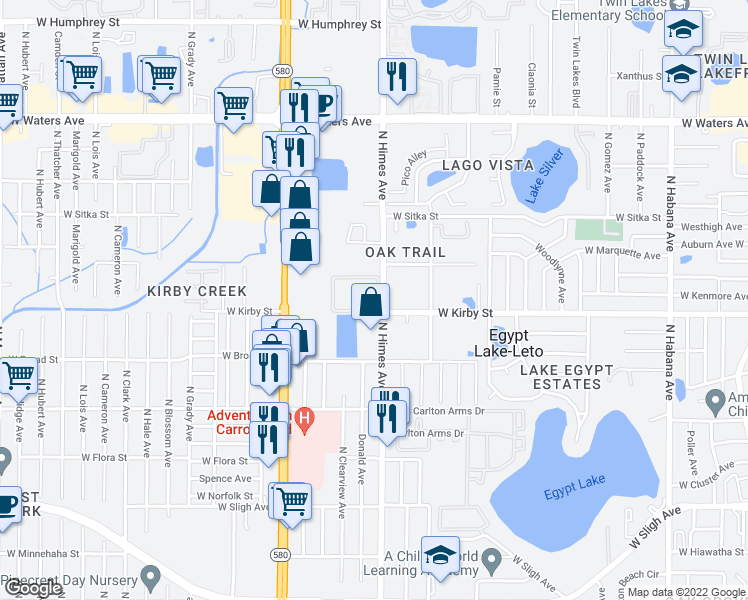 map of restaurants, bars, coffee shops, grocery stores, and more near 3606 Royalty Ct in Tampa