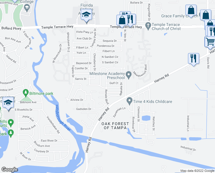 map of restaurants, bars, coffee shops, grocery stores, and more near 7607 Willow Park Drive in Tampa