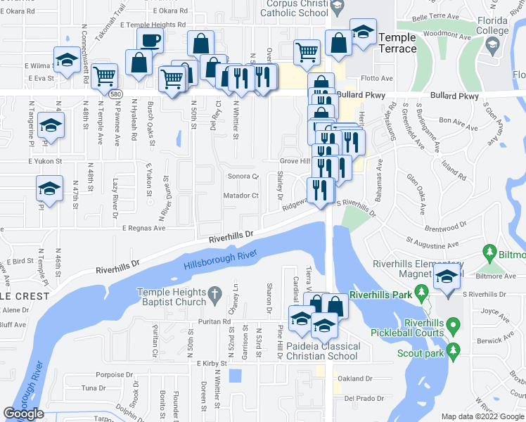 map of restaurants, bars, coffee shops, grocery stores, and more near 5227-5299 Picador Ct in Tampa