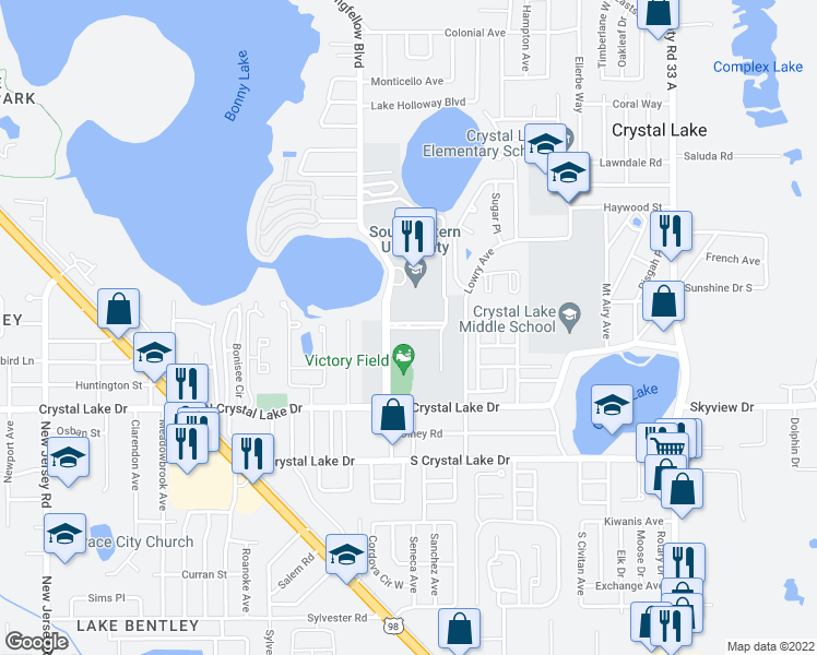 map of restaurants, bars, coffee shops, grocery stores, and more near Avenue East in Lakeland