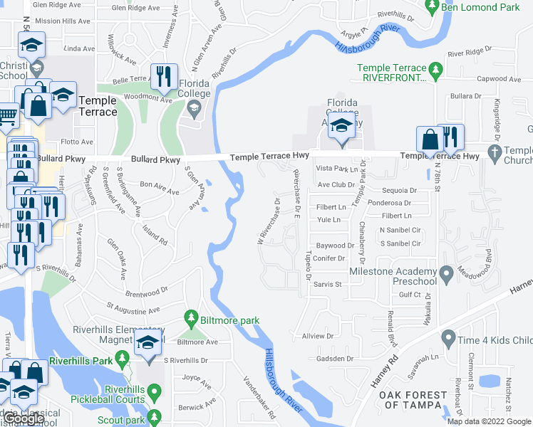 map of restaurants, bars, coffee shops, grocery stores, and more near 7509-7599 W Riverchase Dr in Temple Terrace