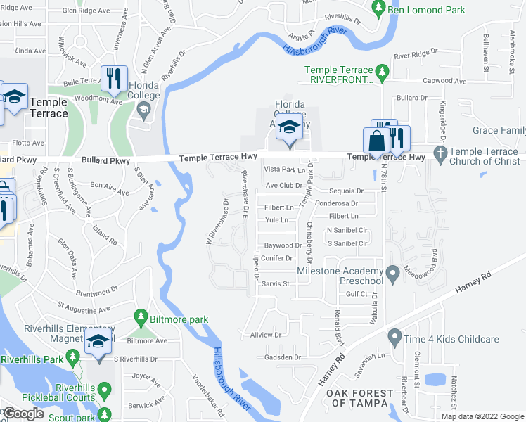 map of restaurants, bars, coffee shops, grocery stores, and more near 7011 Yule Ln in Tampa