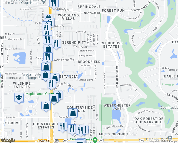 map of restaurants, bars, coffee shops, grocery stores, and more near 3001 Covewood Place in Clearwater