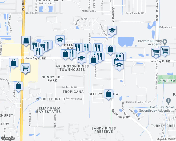 map of restaurants, bars, coffee shops, grocery stores, and more near 2052 Paradise Ct NE in Palm Bay