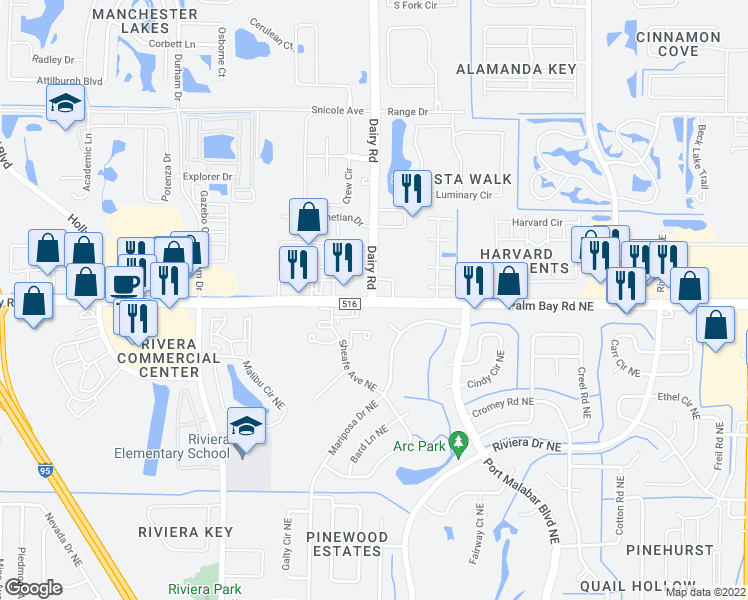 map of restaurants, bars, coffee shops, grocery stores, and more near Palm Bay Rd NE & Dairy Rd in Melbourne