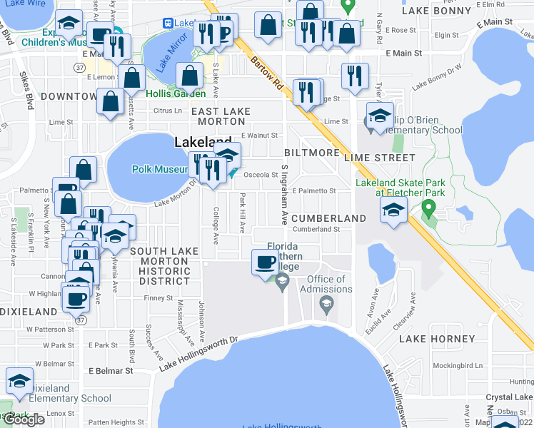 map of restaurants, bars, coffee shops, grocery stores, and more near 748 Winfree Avenue in Lakeland