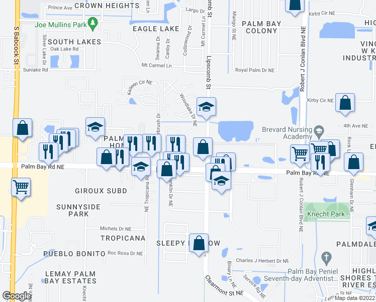 map of restaurants, bars, coffee shops, grocery stores, and more near 1810-2552 Woodlake Dr NE in Palm Bay