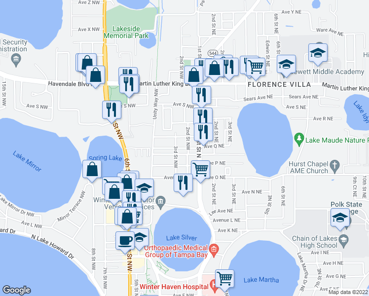 map of restaurants, bars, coffee shops, grocery stores, and more near 1708 2nd St NE in Winter Haven