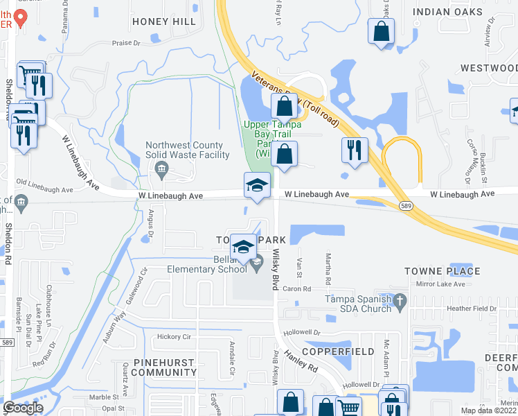map of restaurants, bars, coffee shops, grocery stores, and more near 9910 Wilsky Boulevard in Tampa