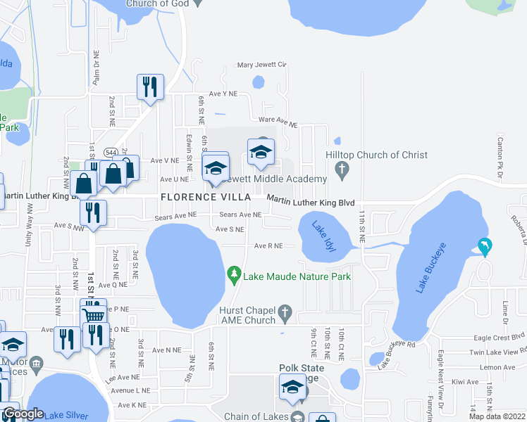 map of restaurants, bars, coffee shops, grocery stores, and more near 708 Sears Ave NE in Winter Haven