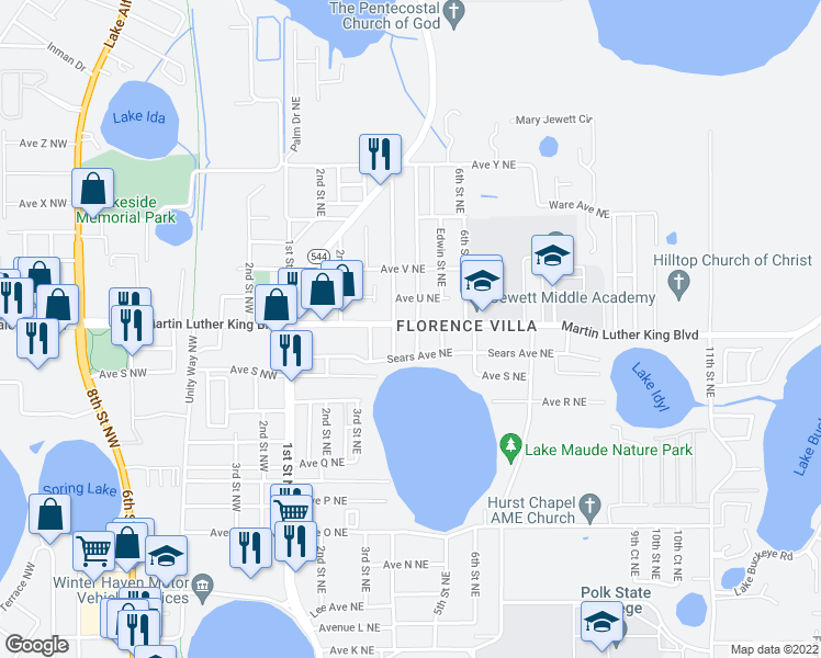 map of restaurants, bars, coffee shops, grocery stores, and more near 501-527 Ave T NE in Winter Haven