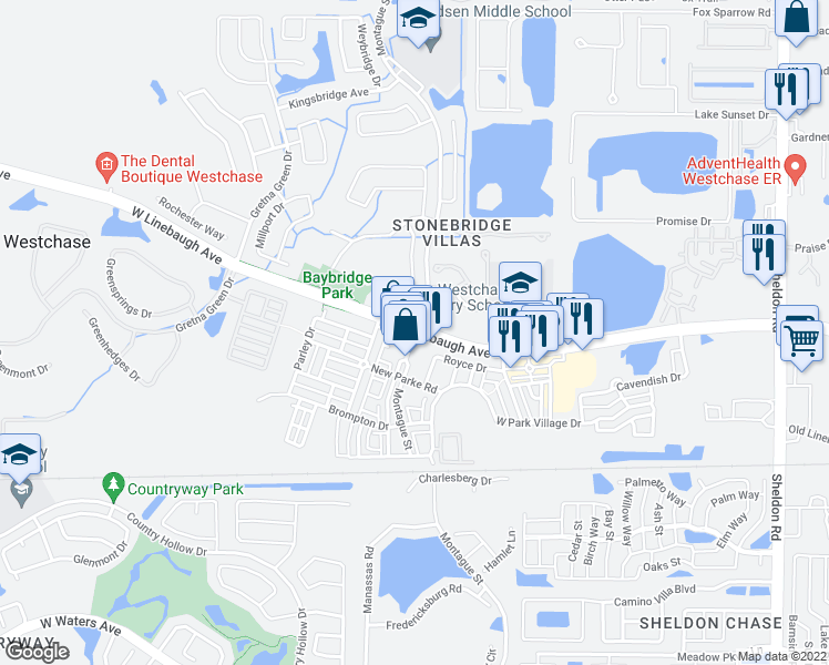 map of restaurants, bars, coffee shops, grocery stores, and more near W Linebaugh Ave & Montague St in Westchase