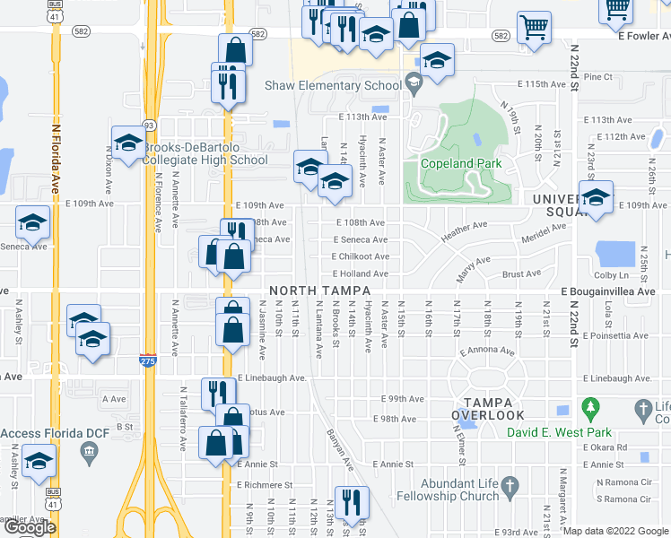 map of restaurants, bars, coffee shops, grocery stores, and more near 1208 East Holland Street in Tampa